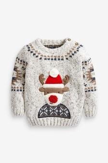 Grey Reindeer Christmas Jumper (3mths-7yrs)