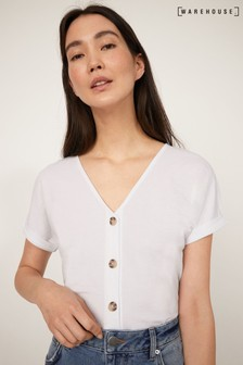 Warehouse White Pique Short Sleeve Top