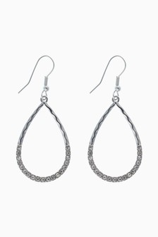 Silver Tone Tear Drop Pave Sparkle Earrings