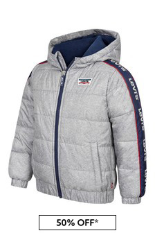Boys Grey Logo Trim Padded Jacket