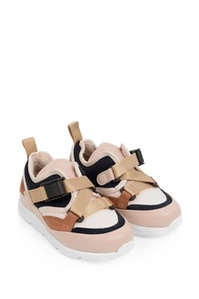 Girls Navy/Pink Leather Trainers