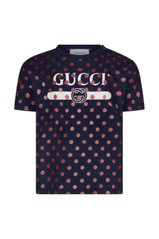GUCCI Kids Baby Girls Navy Cotton Polka Dots Vintage Logo T-Shirt