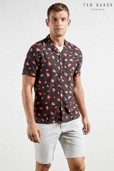 Ted Baker Short Sleeve Bold Print Revere Collar Shirt