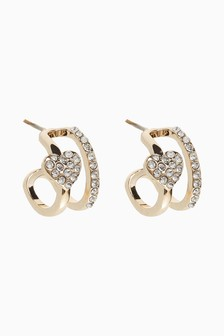 Gold Tone Pave Heart Huggie Hoop Earrings