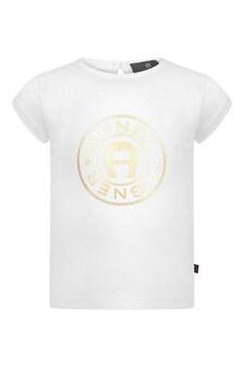Baby Girls White Cotton Logo T-Shirt