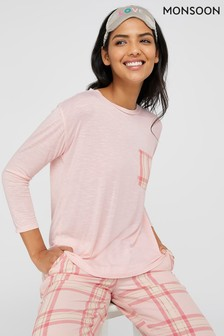 Monsoon Pink Hailey Jersey Check Pocket Pyjama Top