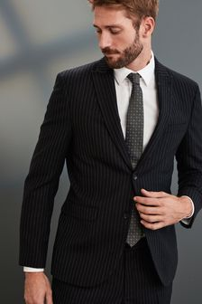 Black Slim Fit Signature Stripe Suit: Jacket