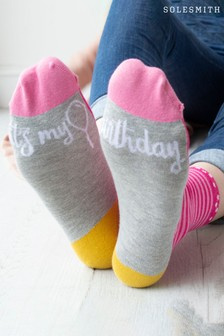 It's My Birthday Patterned Slogan Socks by Solesmith