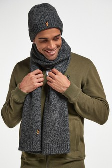 Grey Beanie Hat And Scarf Set