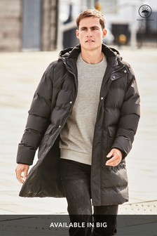Black Shower Resistant Longline Puffer Jacket
