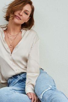 Champagne Emma Willis Satin Look Shirt