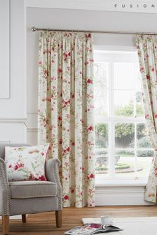Fusion Red Jeannie Floral Lined Pencil Pleat Curtains