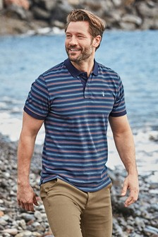 Navy Pink Stripe Organic Cotton Regular Fit Polo