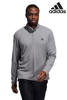 adidas Grey Golf 3 Stripe 1/4 Zip Top
