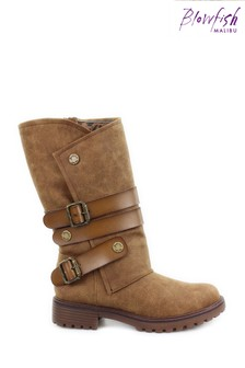 Blowfish Brown Raexy Vegan Tall Boots With Strap Detailing