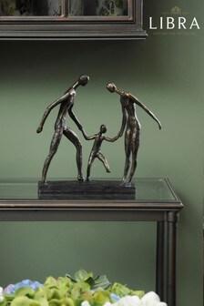 Libra Antique Bronze Family Of Three Holding Hands Sculpture