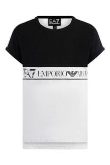 Girls White/Black Cotton Logo T-Shirt