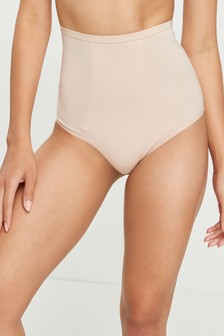 Nude High Rise Light Control Cotton Blend Shaping Knickers