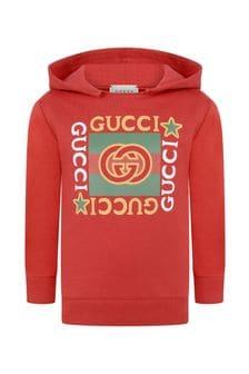 Kids Red Cotton Vintage Logo Hoody