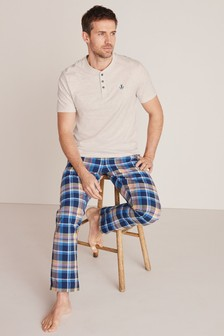 Blue/Neutral Check Woven Pyjama Set