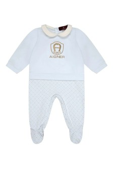 Boys Light Blue Cotton Logo Babygrow