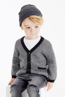 Monochrome Herringbone Button Through Cardigan And T-Shirt Set (3mths-7yrs)
