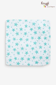 Frugi GOTS Organic Cot Bed Sheet In Aqua Star Print