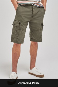 Khaki Premium Longer Laundered Cargo Shorts