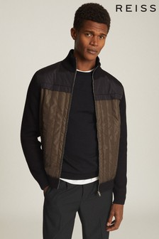 Reiss Green Langly Hybrid Zip Through Quilted Jacket