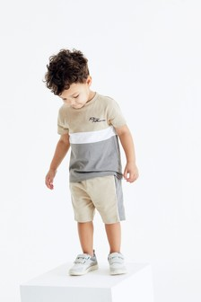 Stone Colourblock T-Shirt And Shorts Set (3mths-7yrs)