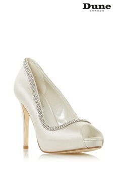 Dune London Charmed Ivory Satin Diamante Peep Toe Platform Wedding Shoes