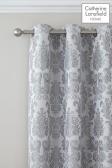 Damask Jacquard Lined Eyelet Curtains by Catherine Lansfield