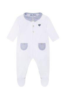 Baby Boys White Cotton Babygrow
