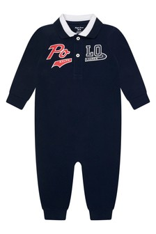 Baby Boys Navy Blue Cotton Polo Coverall
