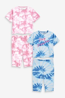 Blue/Pink 2 Pack Printed Tie Dye Longline Short Pyjamas (9mths-16yrs)