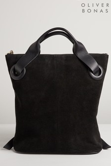 Oliver Bonas Black Immie Eyelet Leather Backpack