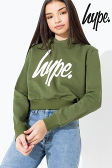 Hype. Khaki/White Script Kids Crop Hoody