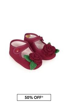 Monnalisa Baby Girls Red Flower Pre-Walker Shoes