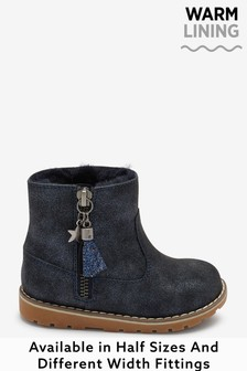 Navy Shimmer Wide Fit (G) Warm Lined Ankle Boots