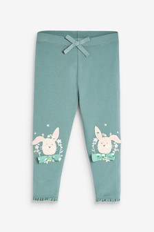 Green Bunny GOTS Organic Cotton Embroidered Leggings (3mths-7yrs)