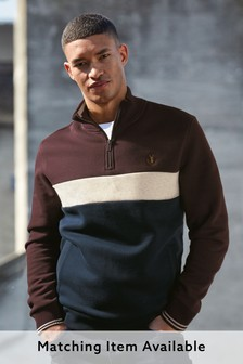 Burgundy/Navy Zip Neck Sweatshirt Piped Jersey