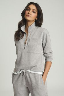 Reiss Grey Etta Zip Neck Sweatshirt