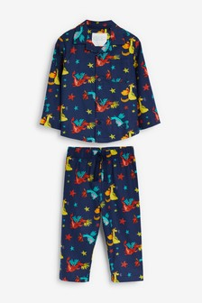 Navy Dragon Button Through Pyjamas (9mths-8yrs)