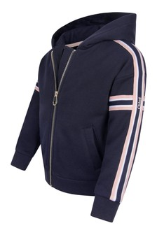 Girls Navy Cotton Zip-Up Top