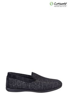 Cotswold Black Stanley Slip-On Slippers