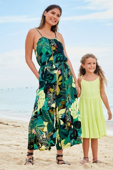 Tropical Print Wide Leg Jumpsuit
