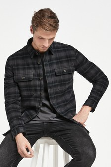 Charcoal Check Borg Lined Twin Pocket Shacket