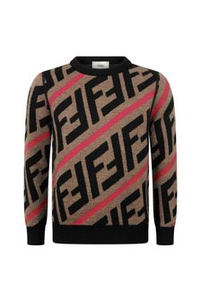 Boys Brown/Red Wool Logo Jumper