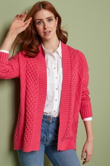 Pink Cable Edge to Edge Cardigan