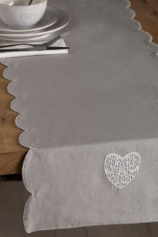 Embroidered Heart Table Runner